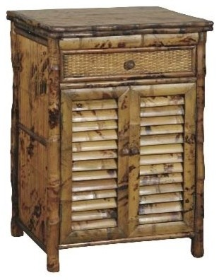 Louvered Nightstand With Woven Rattan Drawer Tortoise