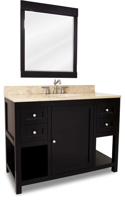 Bathroom Vanity Extended Over Toilet: Distressed Shaker Vanity Set, Black, Extended Drawer