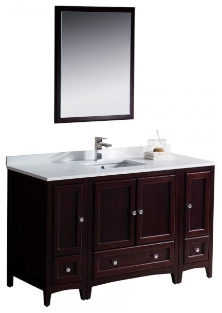 Fresca oxford 54 mahogany traditional bathroom vanity for 54 bathroom vanity cabinet