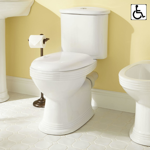 Ebler European Rear Outlet Two Piece Elongated Toilet Ada Compliant Traditional Toilets
