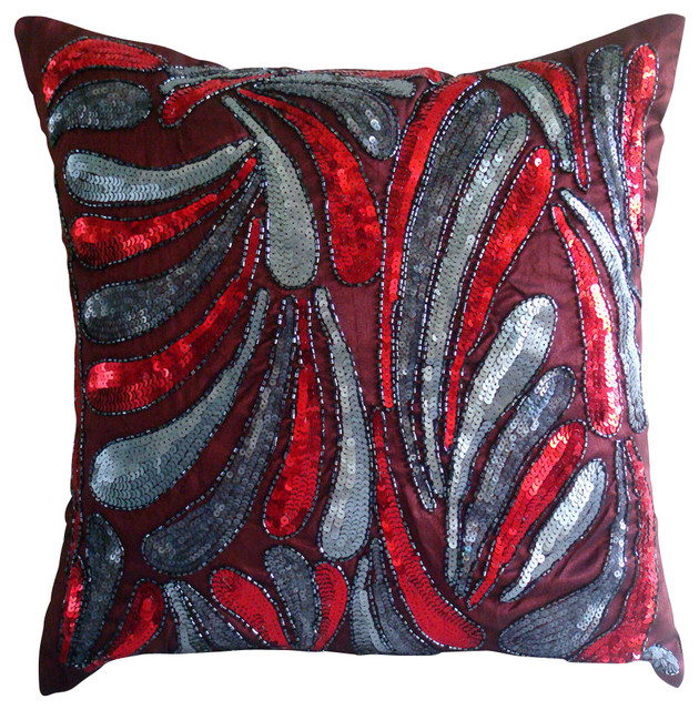 Royal Spalsh Decorative Red Silk Throw Pillow Cover, 14x14 contemporary-scatter-cushions