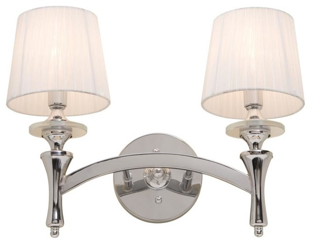 Hampton Bay 2 Light Chrome Bath Light 05659: Two Light Chrome White Silk Ribbon Shade Vanity