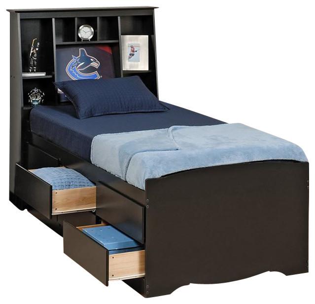 Prepac Sonoma Black Tall Twin Platform Storage Bed 2 Piece Bedroom Set Transitional Kids