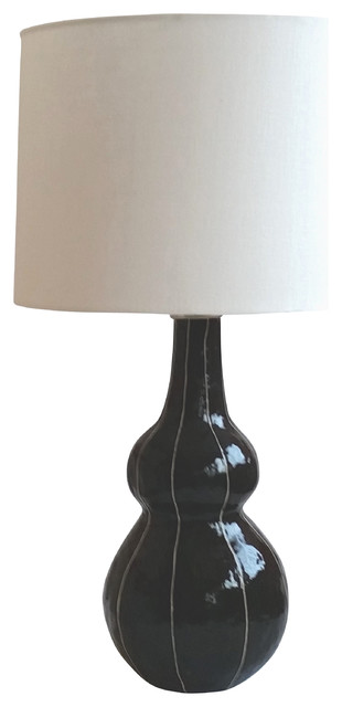 tall gourde lamp with large drum shade black contemporary table lamps. Black Bedroom Furniture Sets. Home Design Ideas
