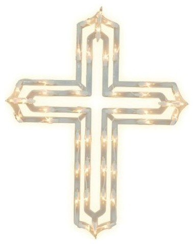 Impact innovations lighted window decoration cross for 16 lighted snowflake christmas window silhouette decoration