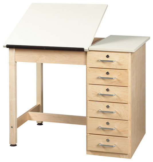 Shain Split Top Drafting Table With Drawer Base