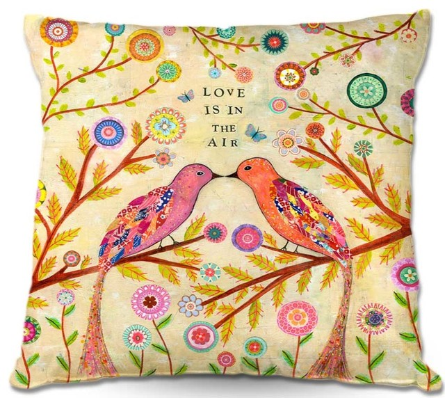DiaNoche Throw Pillows Sascalia Love Birds - Contemporary - Decorative Pillows - by DiaNoche Designs