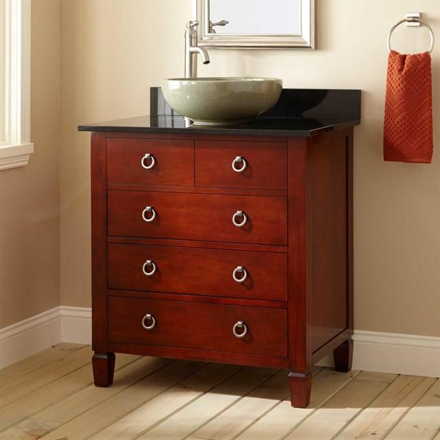 30 Watkins Vessel Sink Vanity Light Cherry Traditional Bathroom Vanities And Sink