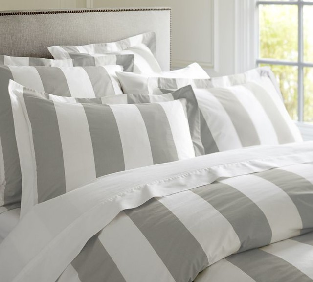 Classic Stripe 400 Thread Count Duvet Cover And Sham Gray