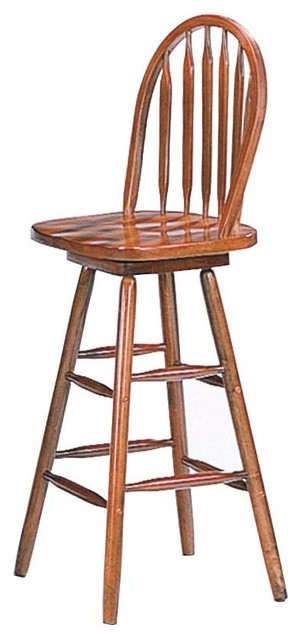 29 Quot Oak Finish Windsor Spindle Swivel Bar Stool By Coaster