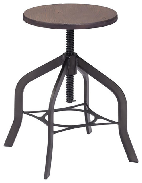 Zuo Decorative Accent Furniture Socrates Stool Rustic Wood