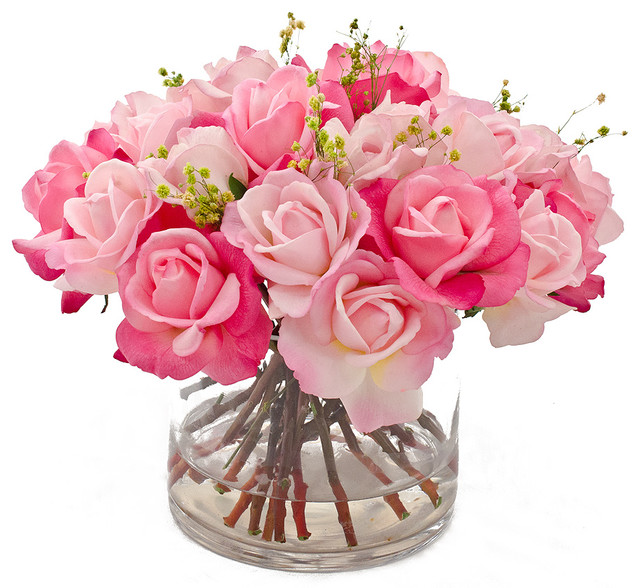 Real Touch Rose Faux Floral Arrangements Centerpieces For Home Decor