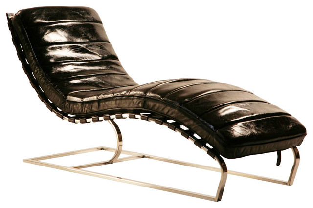 Philly leather channeled chaise black indoor chaise for Black chaise lounge indoor
