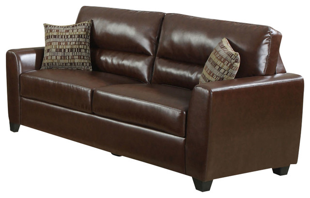 Monarch Specialties 8983br Sofa W 2 Accent Pillows In