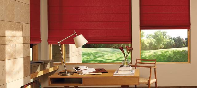 Home Office Den Red Roman Shades Window Treatment Ideas