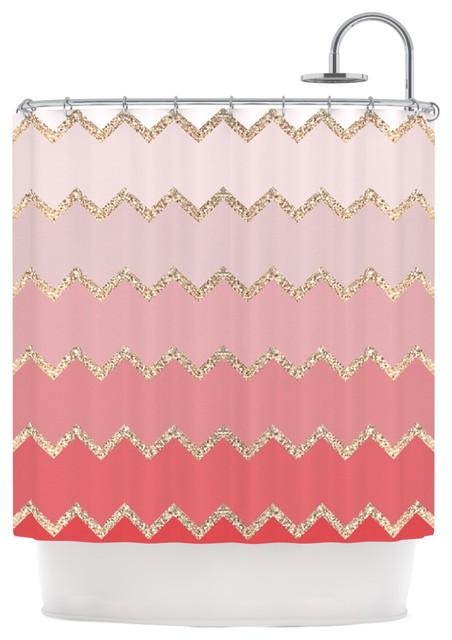 monika strigel avalon coral ombre pink chevron shower