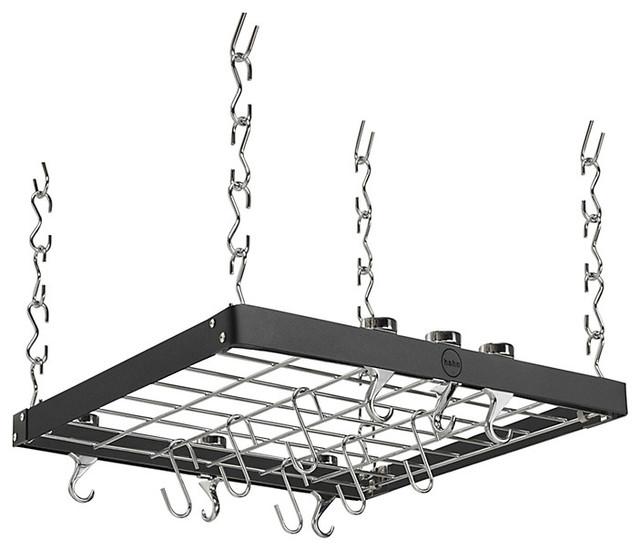 Hahn premium square ceiling pan rack modern pot racks for Overhead pots and pans rack
