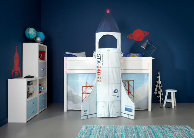Kid 39 s astronaut rocket spaceship twin bed modern kids for Childrens rocket bed