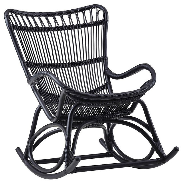 monet indoor rattan rocking chair matte black transitional outdoor rocking chairs by sika. Black Bedroom Furniture Sets. Home Design Ideas