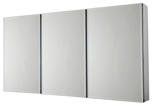 Pegasus 48 in x 31 in recessed or surface mount medicine cabinet in silver contemporary - Modern medicine cabinets recessed ...