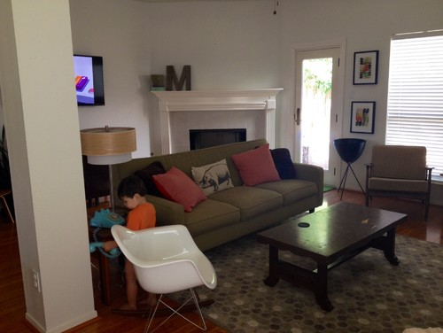 Sofa With Back To Fireplace