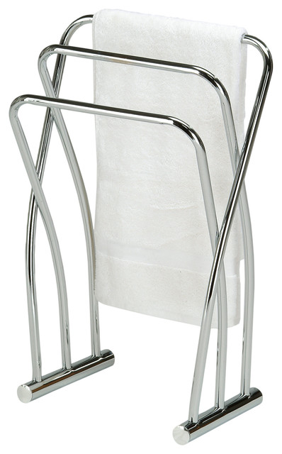 Chrome Finish Towel Bathroom Quilt Rack Stand Contemporary Towel Racks Stands By