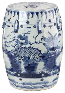 Blue And White Kylin Chinese Porcelain Stool Asian