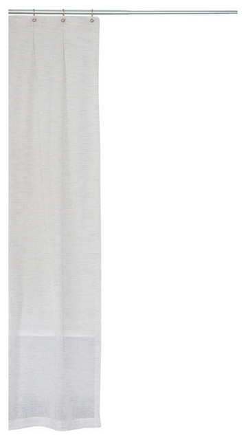 Extra Long Mesh Fabric Shower Curtain White And Gray 72x75 Modern Showe