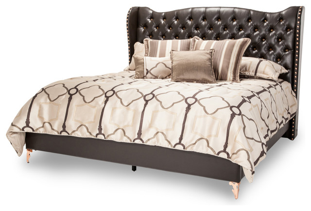 Aico Michael Amini Hollywood Loft Upholstered Bed Ganache