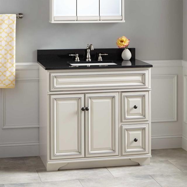 """White Transitional Bathroom Vanities: 36"""" Misschon Vanity For Rectangular Undermount Sink"""