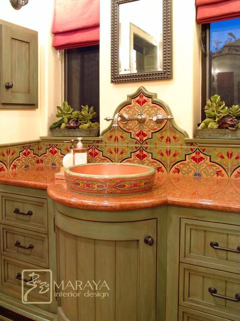 Spanish bathroom with malibu tile mediterranean for Mediterranean style bathroom