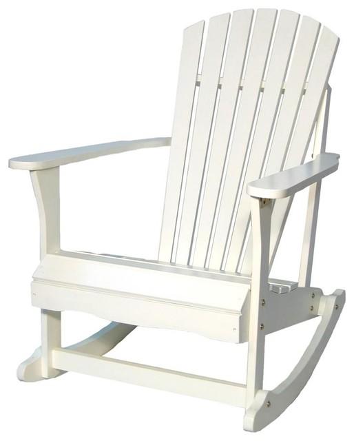 Adirondack Porch Rocking Chair in White Beach Style