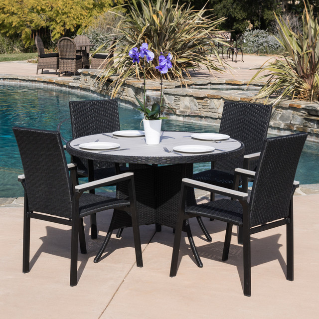 Christopher Knight Home Freeport 5 Piece Outdoor Black Wicker Dining Set Contemporary