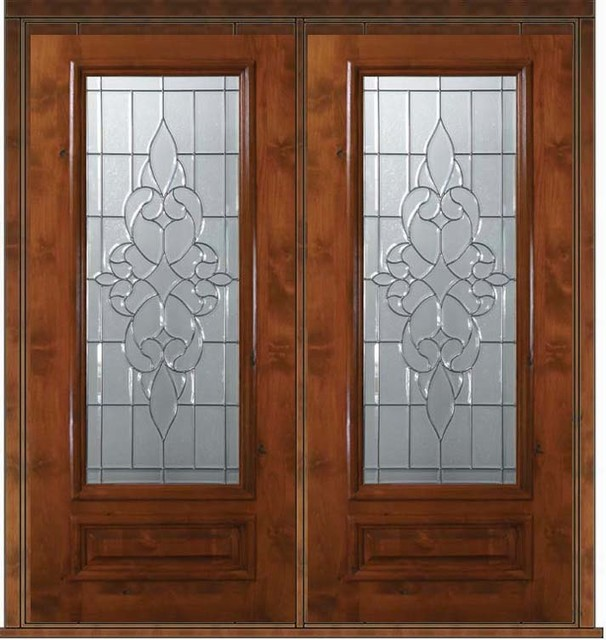 Pre hung double door 80 wood alder courtlandt 1 panel 3 4 for Front door with 6 windows