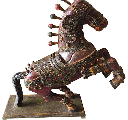 Consigned Antique Wooden Galloping Horse Statue Hand Carved Decorative ...