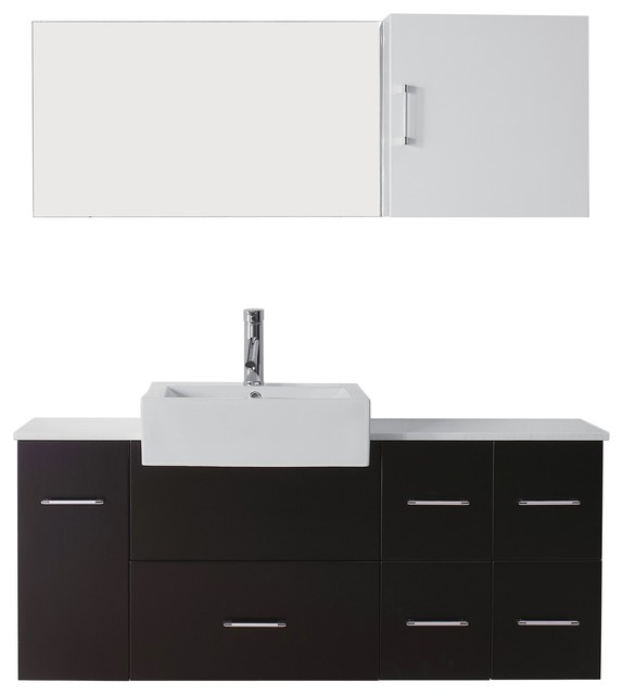 Hazel 55 Single Bathroom Vanity Cabinet Set Espresso Modern Bathroom Vanities And Sink