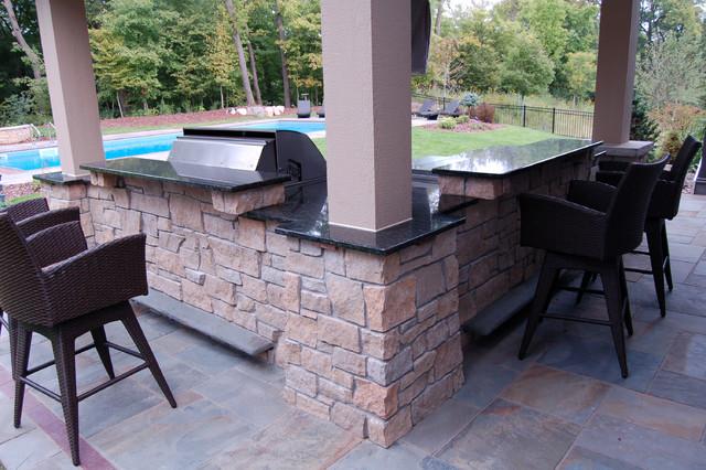 Bluestone pool decks arbors fireplaces outdoor kitchen for Outdoor kitchen under deck