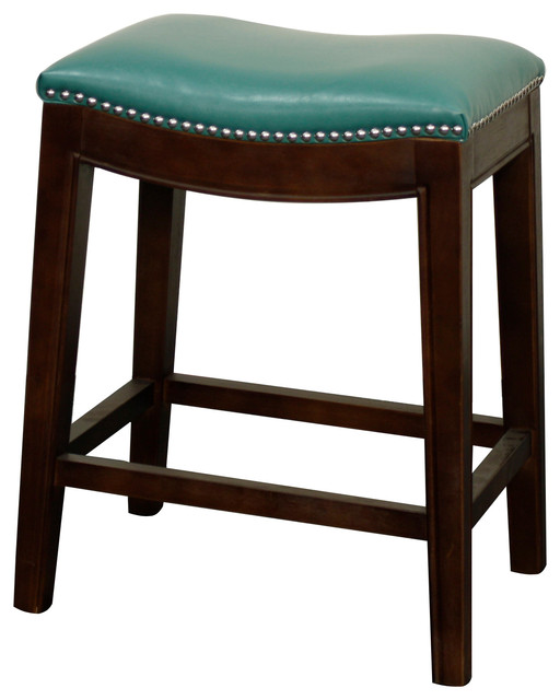 Elmo Bonded Leather Counter Stool Turquoise Transitional
