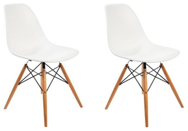Lot de 2 chaises design woody blanche contemporary - Chaises design blanche ...