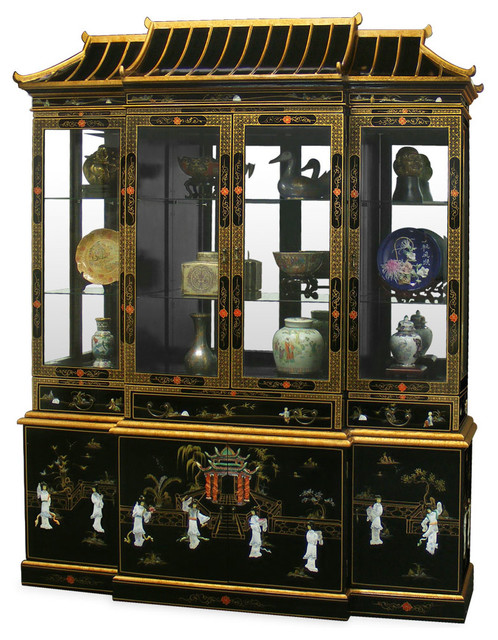 Black Lacquer Pagoda China Cabinet(code doesn't match item description) - Asian - Furniture - by ...