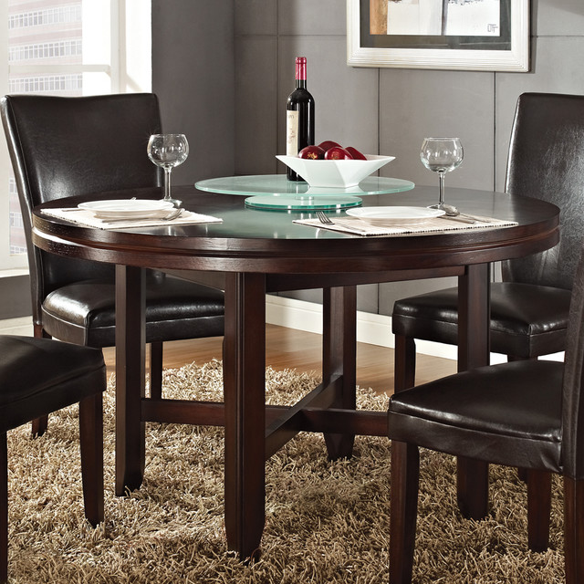 Steve silver hartford 52 inch round dining table in dark for 52 kitchen table