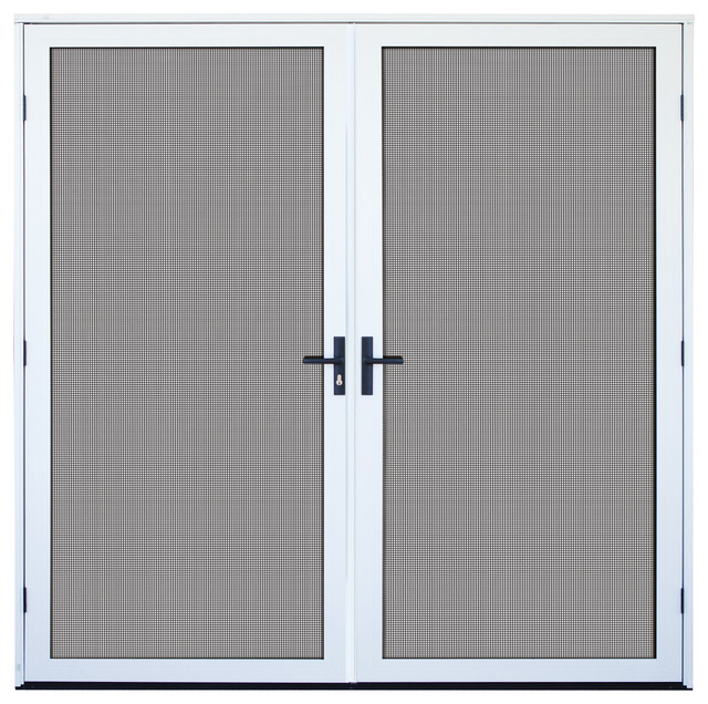 White recessed mount double aluminum meshtec security screen door 72 39 39 x8 39 39 modern screen - White security screen door ...