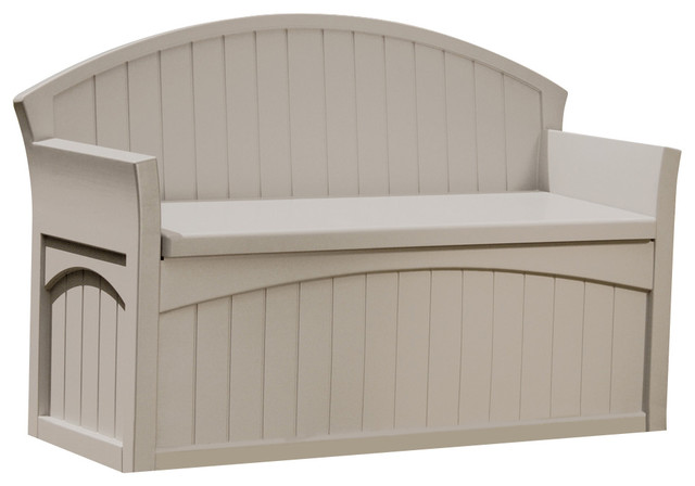 Suncast taupe storage patio bench outdoor chaise lounges for Chaise bench storage