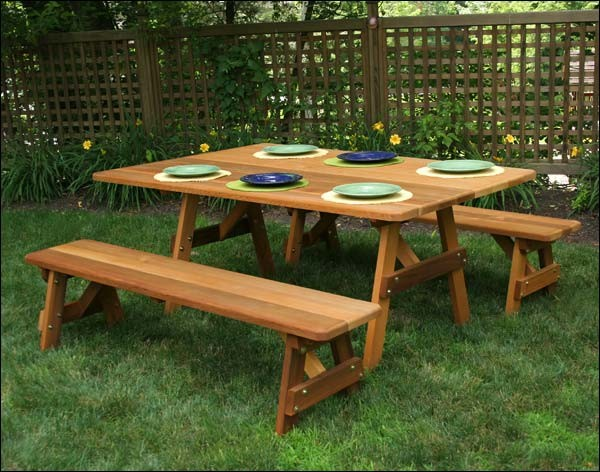 46quot x 42quot Red Cedar Traditional Picnic Table with 2 46  : contemporary outdoor dining tables from www.houzz.com size 600 x 472 jpeg 97kB