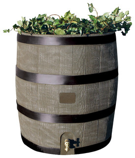 round rain barrel with planter deco bauhaus look. Black Bedroom Furniture Sets. Home Design Ideas