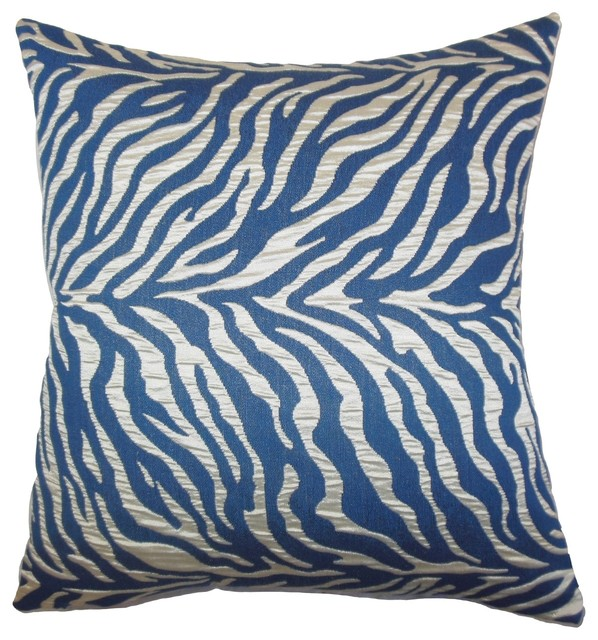 Modern Print Pillows : Helaine Zebra Print Pillow Blue - Contemporary - Decorative Pillows - by The Pillow Collection Inc.