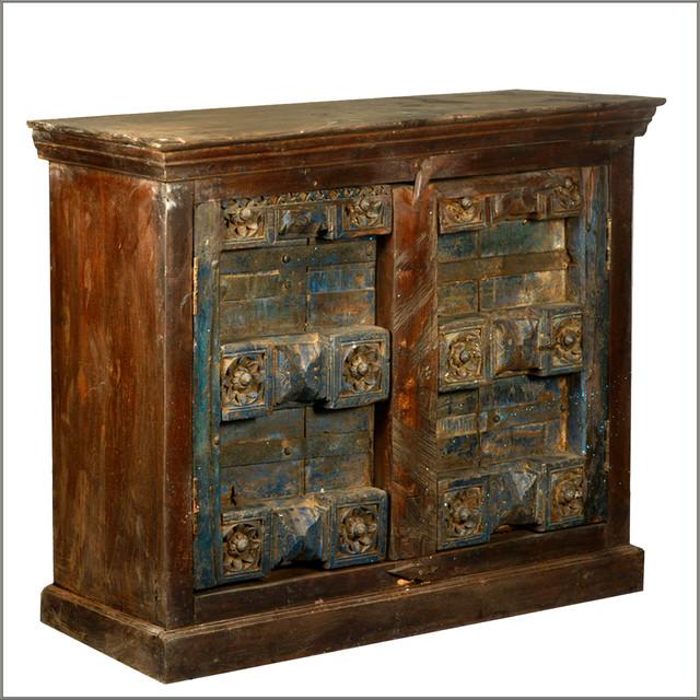 Reclaimed Wood Antique Door Storage Buffet Accent Cabinet