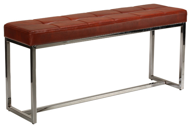 Livio Contemporary Narrow Tufted Bench Brown Leather Like Vinyl Transitional Accent And