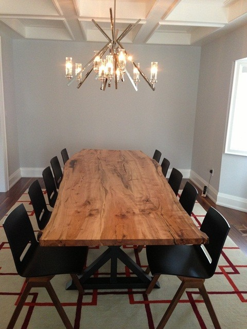 Reclaimed Maple Live Edge Dining Table Top Contemporary