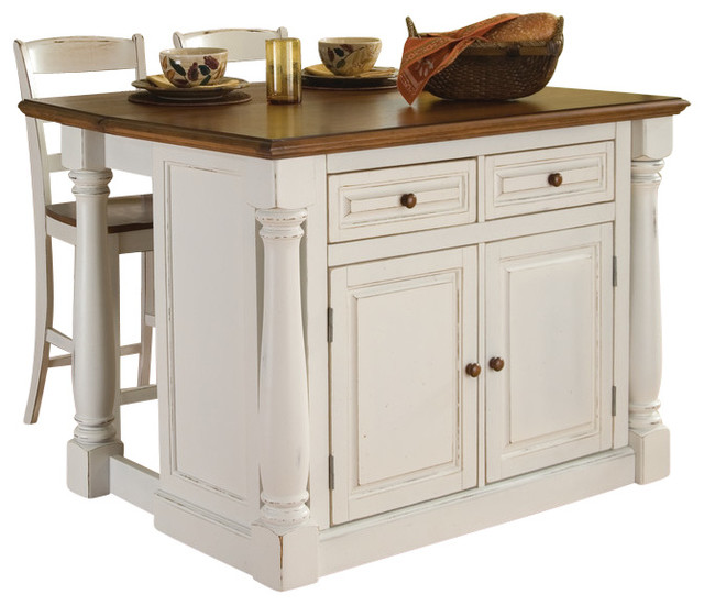 Monarch Antiqued White Kitchen Island And Two Stools Traditional Kitchen Islands And Kitchen